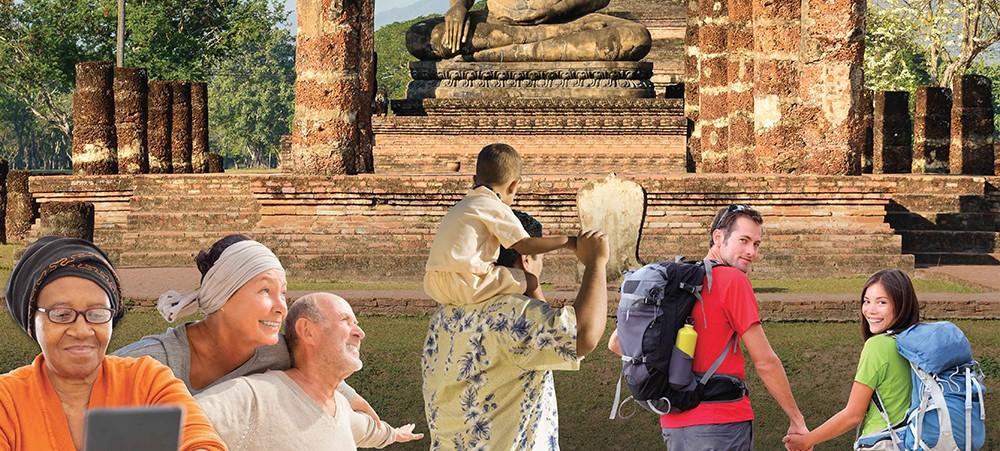 La campagne du centre santé et voyages se décline en trois affiches faisant écho aux continents africain, asiatique et américain où sévissent des maladies telles que la fièvre jaune, la rage, le paludisme, la diarrhée du voyageur, etc.